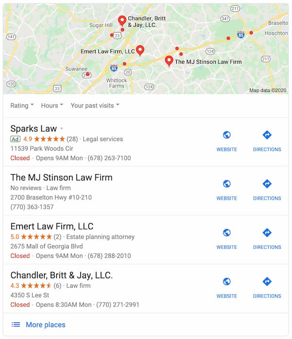 online marketing for law firms on google maps