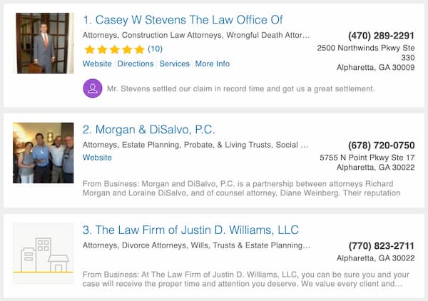 online marketing for law firms using NAP strategy - screen shot.
