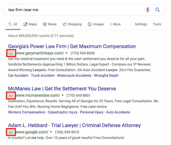 online marketing for law firms PPC example